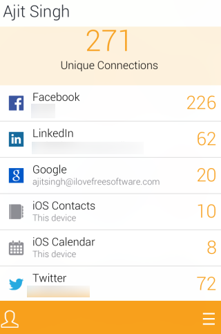 Contacts from Different Social Networks