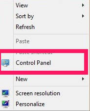Control Panel-Added to Context Menu
