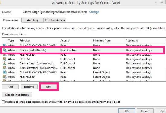 Control Panel-Edit Advanced Permissions
