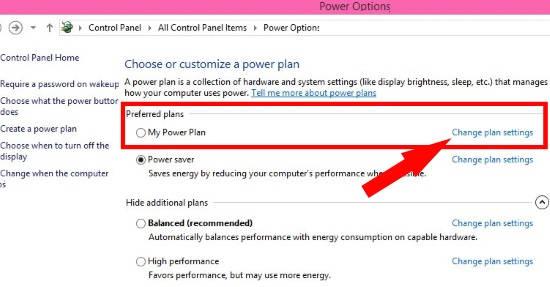 Custom Power Plan-Change settings