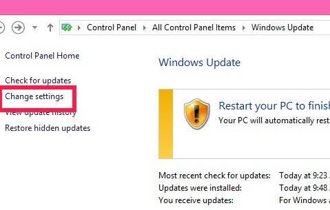Disable Automatic Windows Updates-Change Settings