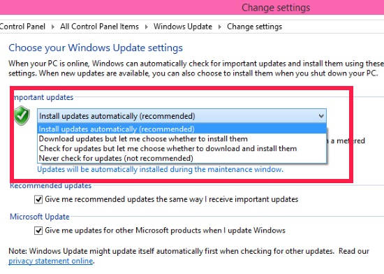Disable Automatic Windows Updates-Control Panel