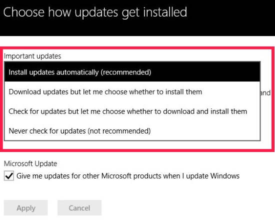 Disable Automatic Windows Updates-Options