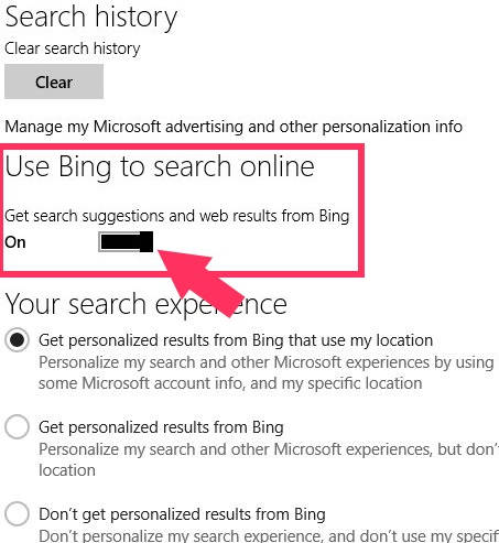 Disable Bing-switch