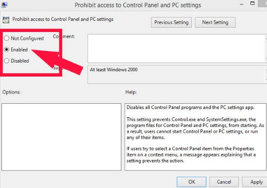 Disable PC Settings and Control Panel-Enabled