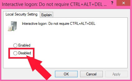 Enable Secure Logon-Disabled