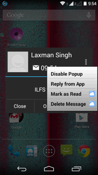 Extra Options for Pop-up Mail Notifications