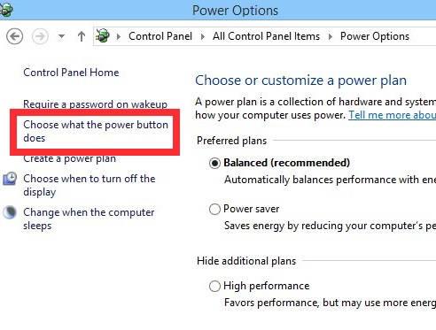 Fast Startup-Change Power button option
