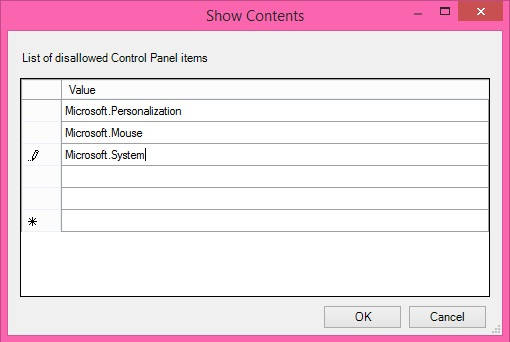 Hide Control Panel Items-Show Contents