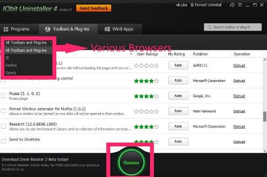 IObit Uninstaller-Browsers
