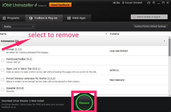 IObit Uninstaller-Firefox