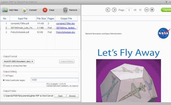 Lighten PDF to Word (Free Edition)- interface