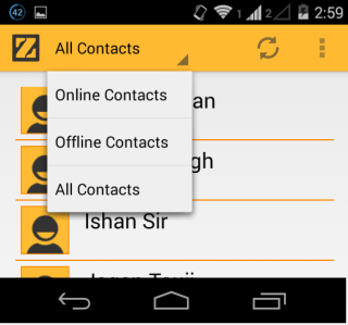 List of Contact and Options