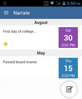 Narrate App Home Screen