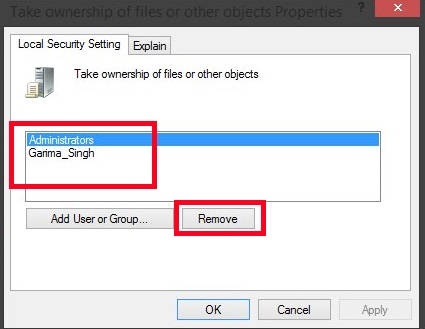 Prevent Or Add Users To Take Ownership-Remove User