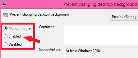 Prevent Users From Changing Desktop Background-Enabled