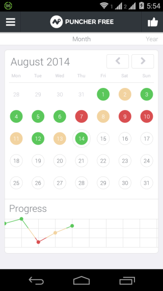 Puncher App Monthly View