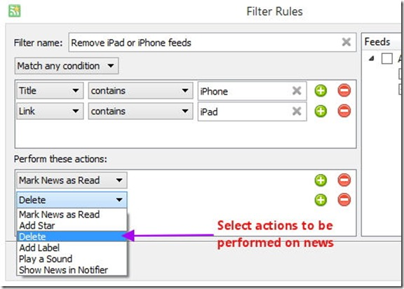 RSS read with filters - actions