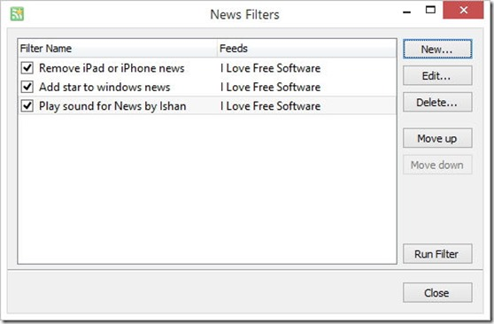 RSS read with filters - filters list