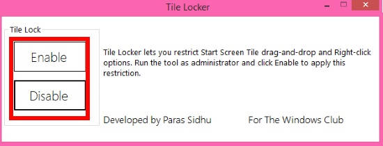 Restrict Users From Accessing Tile Context Menu-Tile Locker