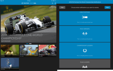 Reuters Sports Reel Interface
