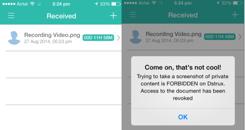 Screenshot Capture Error Message