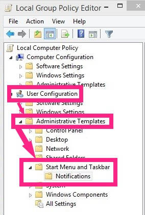Show Notification-Group Policy