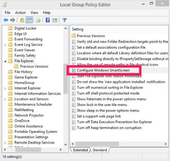 Smart Screen-Group Policy