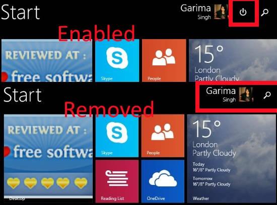 Start Screen-Remove Power button