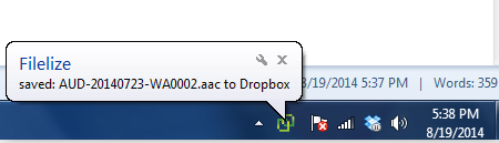 Syncing To Dropbox In Progress