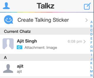 Talkz Contacts List