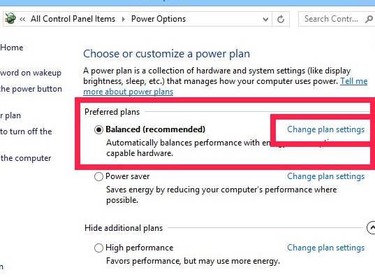 Turn Off Display-Change settings