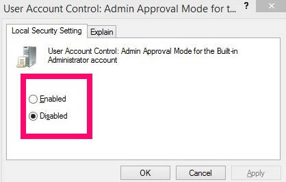UAC For Built-in Admin-Enabled