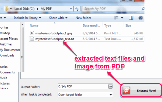 access output folder to get extracted text file and images