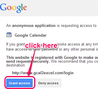 authorize Gcal2Excel to your Google account