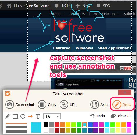 capture screenshot and use annotation tools