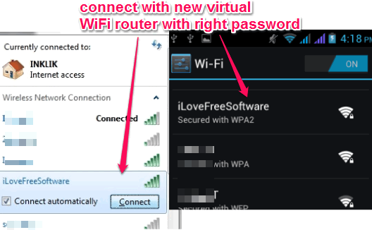 connect with new virtual wifi router