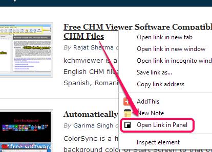 context menu option for links
