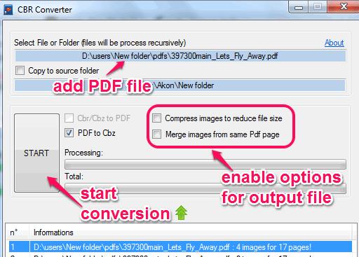 convert PDF to cbz