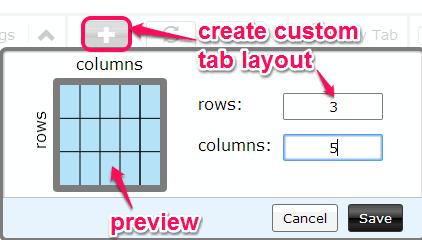 create custom tab layout