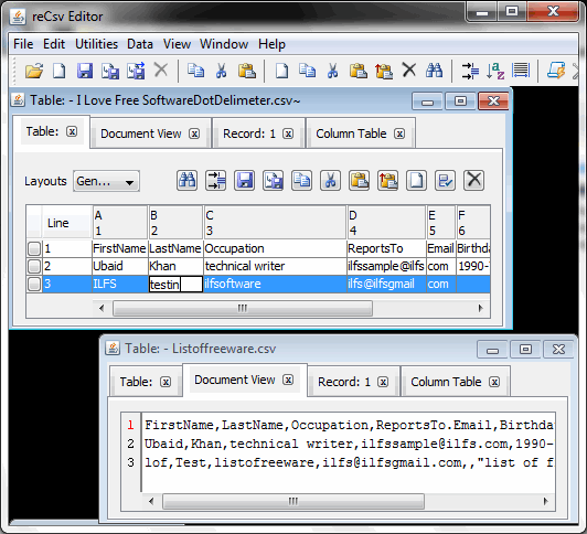 csv file reader - reCsv Editor
