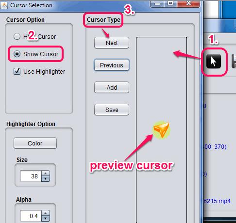 cursor selection window