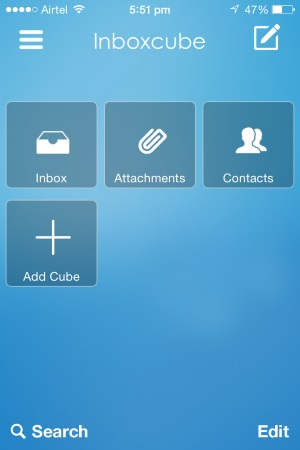inboxcube main screen