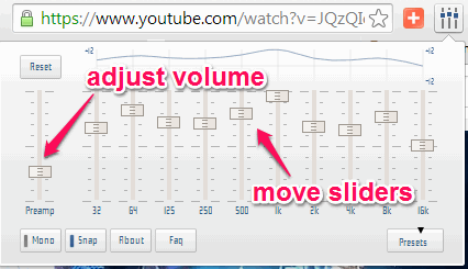 manually change audio by moving equalizer sliders