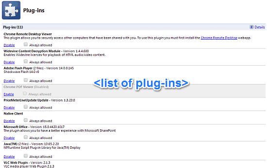 plugins page
