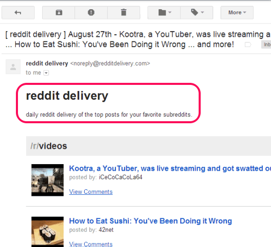 reddit delivery- get favorite subreddits information in inbox