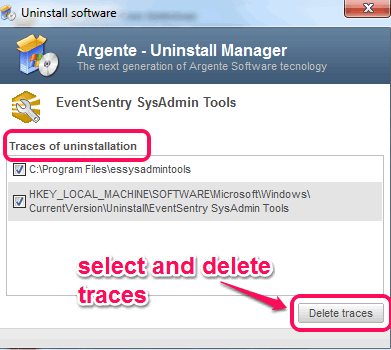 select and delete traces