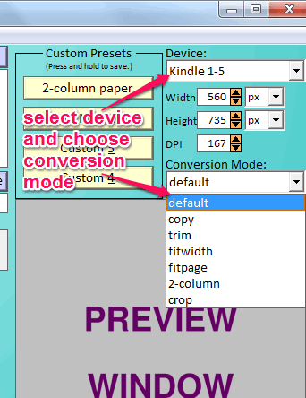 select device and conversion mode