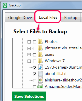 select files to backup