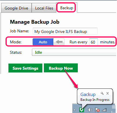 set backup process and run